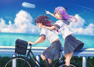 Rating: Safe Score: 36 Tags: 2girls bicycle blush clouds kneehighs logo long_hair omohiro original purple_eyes purple_hair school_uniform skirt sky water yellow_eyes User: BattlequeenYume