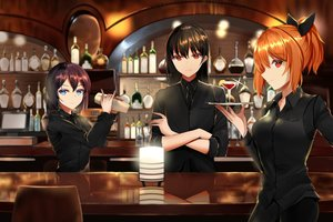 Rating: Safe Score: 50 Tags: aircell blue_eyes bow brown_hair drink long_hair narynn_(character) orange_hair original ponytail red_eyes reflection short_hair suit tie waitress User: otaku_emmy