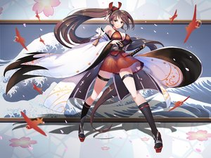 Rating: Safe Score: 68 Tags: aircraft anthropomorphism azur_lane brown_eyes brown_hair cherry_blossoms flowers japanese_clothes katana kaze_no_gyouja kneehighs long_hair ponytail sword weapon zuikaku_(azur_lane) User: RyuZU