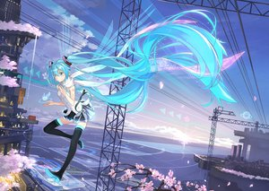 Rating: Safe Score: 141 Tags: aqua_hair beek building cherry_blossoms clouds hatsune_miku long_hair scarf skirt sky thighhighs twintails vocaloid User: Flandre93