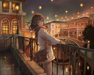 Rating: Safe Score: 136 Tags: aqua_eyes brown_hair building city night original scarf scenic short_hair sho_(shoichi-kokubun) sky User: RyuZU