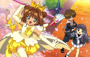 Rating: Safe Score: 5 Tags: animal black_hair blue_eyes brown_eyes brown_hair camera card_captor_sakura cherry_blossoms clamp daidouji_tomoyo elbow_gloves flowers gloves green_eyes kero kinomoto_sakura li_syaoran long_hair petals scan school_uniform short_hair skirt thighhighs User: RyuZU