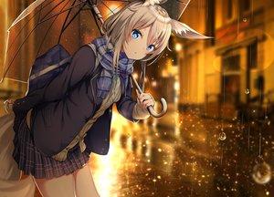 Rating: Safe Score: 160 Tags: animal_ears blue_eyes brown_hair building foxgirl original rain scarf school_uniform skirt tail umbrella water yukishiro_arute User: BattlequeenYume