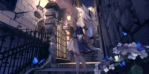 Rating: Safe Score: 250 Tags: animal animal_ears braids building butterfly cat city corset flowers long_hair night original red_eyes rose sagiri_(ulpha220) stairs tail white_hair User: BattlequeenYume