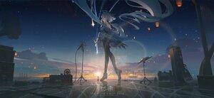 Rating: Safe Score: 90 Tags: blue_hair clouds ganyu_(genshin_impact) genshin_impact gloves horns instrument long_hair microphone night purple_eyes scenic sky stars sunset void_0 watermark User: SnekNOTSnake