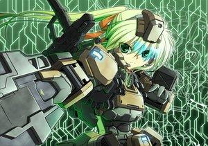 Rating: Safe Score: 84 Tags: border_break bow green_eyes green_hair mechagirl ponytail ribbons steel_high sword weapon User: 02