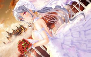 Rating: Safe Score: 59 Tags: blush building clouds dress flowers girlfriend_(kari) gray_hair headdress long_hair ponytail red_eyes shigetou_akiho sky tagme_(artist) tiara water wedding_attire User: BattlequeenYume