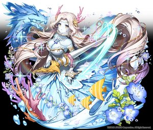 Rating: Safe Score: 44 Tags: animal applecaramel_(acaramel) blonde_hair breasts cleavage dragon dress fish gradient horns long_hair magic mask necklace original see_through spear water weapon yellow_eyes User: otaku_emmy