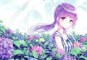 Rating: Safe Score: 98 Tags: aikatsu! clouds flowers hikami_sumire hiten_goane_ryu leaves long_hair purple_eyes purple_hair rainbow scan sky twintails umbrella water wet User: RyuZU