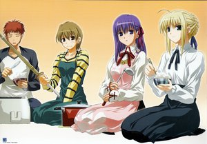 Rating: Safe Score: 5 Tags: artoria_pendragon_(all) blonde_hair emiya_shirou fate_(series) fate/stay_night food fujimura_taiga green_eyes male matou_sakura purple_eyes purple_hair red_hair saber weapon User: Oyashiro-sama