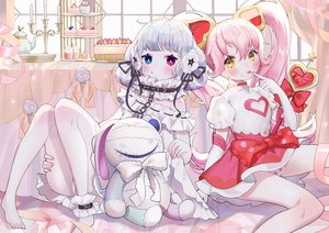 Rating: Safe Score: 29 Tags: 2girls cake #compass coquelicot_blanche food meowlian ririka_(#compass) User: sadodere-chan