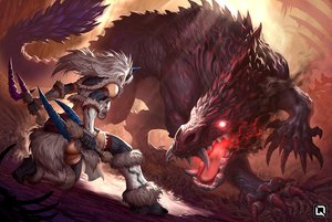 Rating: Safe Score: 49 Tags: boots gloves gray_hair headband horns kirin_(armor) kuroi-tsuki long_hair monster_hunter monster_hunter:_world odogaron watermark weapon User: otaku_emmy