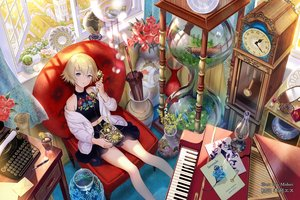 Rating: Safe Score: 45 Tags: blonde_hair blush drink flowers foo_midori instrument original paper phone piano purple_eyes rose short_hair skirt watermark User: BattlequeenYume