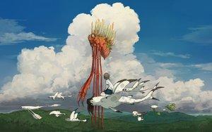 Rating: Safe Score: 40 Tags: animal bird clouds original sky yuu-rin User: FormX