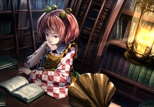 Rating: Safe Score: 91 Tags: apron bell book bow instrument motoori_kosuzu red_eyes red_hair ryosios short_hair touhou twintails User: Zolxys
