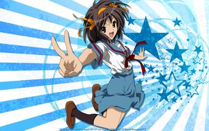 Rating: Safe Score: 27 Tags: bow brown_eyes brown_hair headband kneehighs ribbons school_uniform skirt suzumiya_haruhi suzumiya_haruhi_no_yuutsu vector watermark User: RyuZU