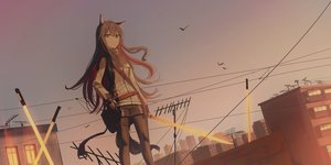 Rating: Safe Score: 52 Tags: animal_ears arknights brown_eyes brown_hair building chihuri405 long_hair pantyhose shorts sky sunset sword tail texas_(arknights) weapon User: BattlequeenYume