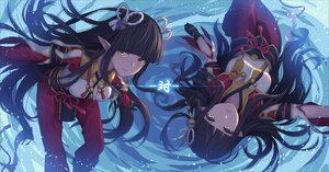 Rating: Safe Score: 101 Tags: 2girls athrun1120 brown_hair gloves hinoa long_hair minoto monster_hunter monster_hunter_rise pointed_ears twins yellow_eyes User: BattlequeenYume