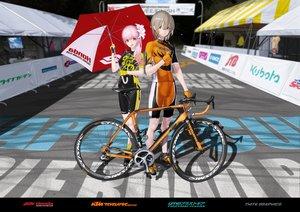 Rating: Safe Score: 20 Tags: bicycle bike_shorts gloves hitomi_kazuya male original pink_hair shorts skintight watermark User: gnarf1975