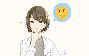 Rating: Safe Score: 87 Tags: blush brown_eyes brown_hair original parody sako_(user_ndpz5754) short_hair signed User: RyuZU