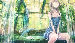 Rating: Safe Score: 141 Tags: animal brown_hair cat headphones leaves long_hair no_bra original popopo5656 rain scenic tree umbrella water wet User: mattiasc02