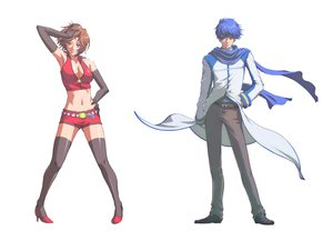 Rating: Safe Score: 23 Tags: blue_eyes blue_hair breasts brown_eyes brown_hair cleavage gloves kaito male meiko scarf shorts thighhighs vocaloid white User: anaraquelk2