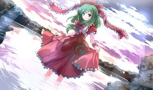 Rating: Safe Score: 80 Tags: blush bow clouds dress green_hair kagiyama_hina long_hair ribbons risutaru sky touhou water User: STORM