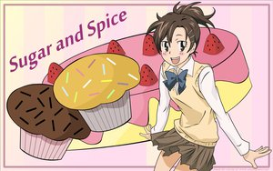 Rating: Safe Score: 6 Tags: brown_eyes brown_hair cake food katekyou_hitman_reborn miura_haru ponytail seifuku vector User: 秀悟