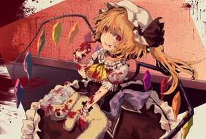 Rating: Safe Score: 37 Tags: bellabow blonde_hair blood dress flandre_scarlet hat red_eyes teddy_bear touhou vampire wings User: BattlequeenYume