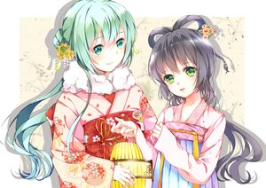 Rating: Safe Score: 102 Tags: 2girls aqua_eyes aqua_hair chinese_clothes flowers gray_hair green_eyes hatsune_miku japanese_clothes kimono long_hair luo_tianyi tr_(52137) vocaloid vocaloid_china white User: FormX