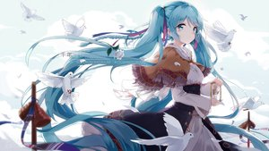 Rating: Safe Score: 113 Tags: animal aqua_eyes aqua_hair bell bird blush braids cape clouds dress flowers hatsune_miku hoodie kyod+ long_hair ribbons rose tears twintails vocaloid watermark User: RyuZU