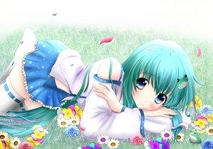 Rating: Safe Score: 135 Tags: flowers grass green_hair hiiragi-qualia japanese_clothes kochiya_sanae miko short_hair thighhighs touhou User: RyuZU
