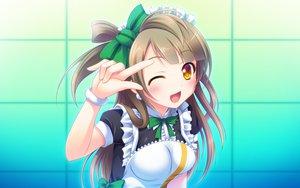 Rating: Safe Score: 254 Tags: bow brown_hair love_live!_school_idol_project maid minami_kotori miu_(c_blue) skintight wink User: opai