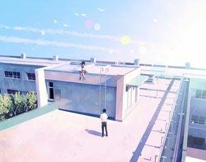 Rating: Safe Score: 106 Tags: animal bird building clouds hinata_(lipcream) male original rooftop seifuku sky tree User: mattiasc02