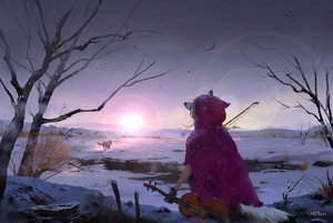 Rating: Safe Score: 114 Tags: animal animal_ears instrument original shuyan signed snow tail tree violin wolf User: Stealthbird97
