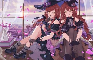 Rating: Safe Score: 53 Tags: 2girls braids brown_hair clouds cosplay flowers gloves hat idolmaster idolmaster_shiny_colors long_hair oosaki_amana oosaki_tenka petals serika sky twins twintails witch witch_hat yellow_eyes User: BattlequeenYume