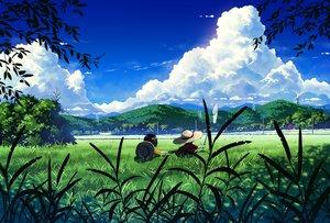 Rating: Safe Score: 38 Tags: bokuden clouds grass hat original scenic sky torii waifu2x User: RyuZU