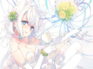 Rating: Safe Score: 120 Tags: animal animal_ears aqua_eyes bell breasts cat catgirl cleavage collar dress elbow_gloves fang flowers gloves reia ribbons rose tail thighhighs wedding_attire white_hair User: BattlequeenYume