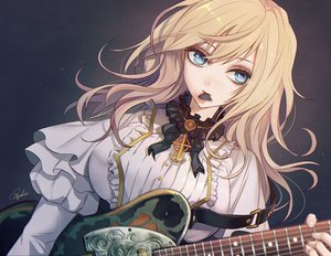 Rating: Safe Score: 35 Tags: blonde_hair blue_eyes close goth-loli guitar instrument lolita_fashion original signed tajima_yukie User: FormX