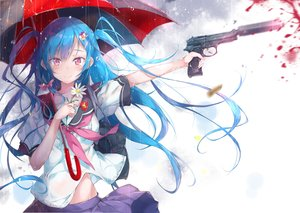 Rating: Safe Score: 123 Tags: aqua_hair blood bow flowers gun long_hair original pink_eyes pirobeelzebub rain seifuku skirt twintails umbrella water weapon User: Hakha