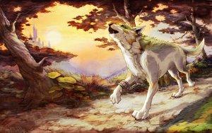 Rating: Safe Score: 32 Tags: animal building chain forest link_(zelda) melora_(woodland-mel) scenic shackles silhouette the_legend_of_zelda tree watermark wolf User: otaku_emmy