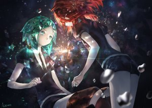 Rating: Safe Score: 58 Tags: anthropomorphism avamone cinnabar green_eyes green_hair houseki_no_kuni phosphophyllite red_hair short_hair shorts signed tie User: RyuZU