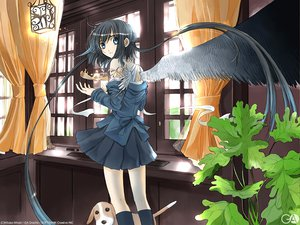 Rating: Safe Score: 12 Tags: animal black_hair blue_eyes dog feathers gagraphic kneehighs logo long_hair magic mikaki_mikako skirt twintails watermark wings User: Oyashiro-sama