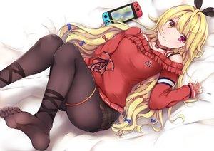 Rating: Safe Score: 81 Tags: bicolored_eyes blonde_hair blush choker game_console hoshikawa_sara long_hair mia_(kuja999) nijisanji pantyhose skirt User: BattlequeenYume