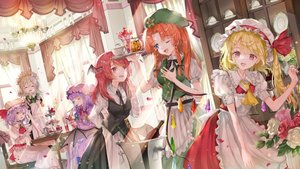 Rating: Safe Score: 54 Tags: aliasing apron blonde_hair chinese_clothes demon drink flandre_scarlet flowers food group hat hong_meiling izayoi_sakuya koakuma long_hair maid patchouli_knowledge piyo_(sqn2idm751) red_eyes red_hair remilia_scarlet rose shirt suit tie touhou vampire wings wink User: BattlequeenYume