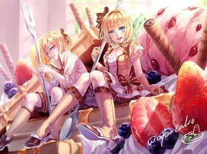 Rating: Safe Score: 106 Tags: blonde_hair blue_eyes bow cake dress elbow_gloves kagamine_len kagamine_rin kneehighs male maple_(maplehy) ponytail short_hair shorts signed strawberry vocaloid User: Flandre93