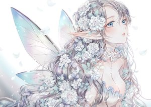 Rating: Safe Score: 62 Tags: breasts cleavage close dekitani fairy flowers original pointed_ears polychromatic wings User: BattlequeenYume