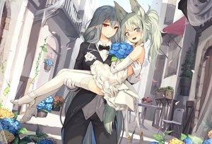 Rating: Safe Score: 55 Tags: 2girls animal_ears arknights blush building elbow_gloves flowers gloves grani_(arknights) gray_eyes gray_hair green_hair jakoujika long_hair red_eyes shoujo_ai skadi_(arknights) wedding wedding_attire User: BattlequeenYume