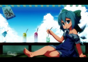 Rating: Safe Score: 39 Tags: barefoot cirno clouds drink fairy koha sky summer touhou wet wings User: FormX