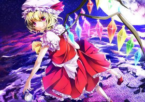 Rating: Safe Score: 26 Tags: blonde_hair clouds dress flandre_scarlet hat lulu_season moon red_eyes stars touhou vampire wings User: Tensa
